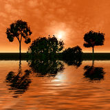 Beautiful sunrise with reflection in water royalty free stock photos