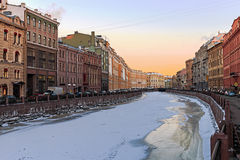 Beautiful sunrise on the river Moika winter. St. Petersburg Royalty Free Stock Photo