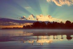 Beautiful sunrise on river - vintage retro style Royalty Free Stock Photos