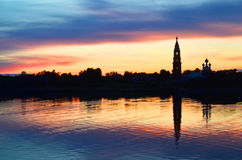 Beautiful sunrise on river Volga with church Royalty Free Stock Image
