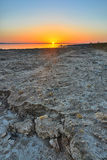 Beautiful sunrise on salt lake Chott el Djerid, Sahara desert, T Royalty Free Stock Photo