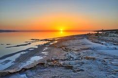 Beautiful sunrise on salt lake Chott el Djerid, Sahara desert, T Royalty Free Stock Photography