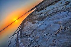 Beautiful sunrise on salt lake Chott el Djerid, Sahara desert, T Stock Photo