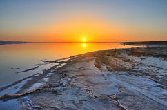 Beautiful sunrise on salt lake Chott el Djerid, Sahara desert, T Stock Image