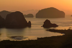Beautiful Sunrise at Samet Nang She View Point at Phang Nga province at Thailand Royalty Free Stock Images
