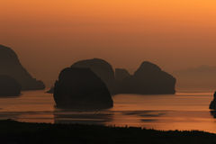 Beautiful Sunrise at Samet Nang She View Point at Phang Nga province at Thailand Stock Images