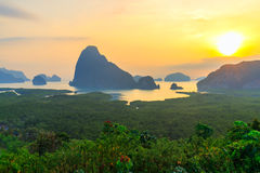 Beautiful Sunrise at Samet Nang She View Point at Phang Nga province at Thailand Stock Image