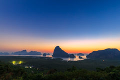 Beautiful Sunrise at Samet Nang She View Point at Phang Nga province at Thailand Royalty Free Stock Photography