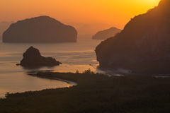 Beautiful Sunrise at Samet Nang She View Point at Phang Nga province in Thailand Royalty Free Stock Photo