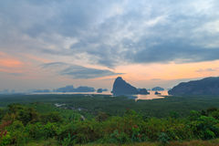 Beautiful Sunrise at Samet Nang She View Point at Phang Nga province in Thailand Royalty Free Stock Images