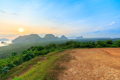 Beautiful Sunrise at Samet Nang She View Point at Phang Nga province in Thailand Royalty Free Stock Photography