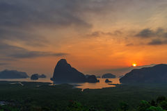 Beautiful Sunrise at Samet Nang She View Point at Phang Nga province in Thailand Stock Image