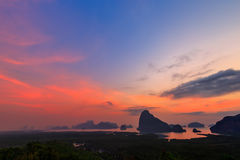 Beautiful Sunrise at Samet Nang She View Point at Phang Nga province in Thailand Royalty Free Stock Image