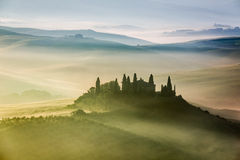 Beautiful sunrise in San Quirico d'Orcia Royalty Free Stock Photo