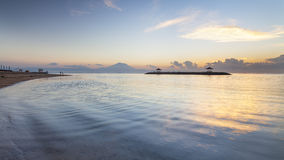 Beautiful sunrise of the Sanur Beach at Bali, Indonesia. Royalty Free Stock Images