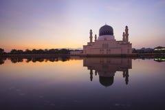 Beautiful sunrise scene at Kota Kinabalu Mosque, Sabah Borneo, M Royalty Free Stock Photo