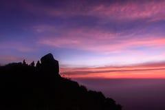 Beautiful sunrise scene at Peak of Mokoju mountain at sunset Stock Photos