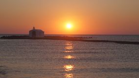 Beautiful sunrise on the sea. In Greece stock photos