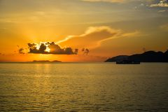 Sunrise by the sea at Samui island in Thailand Royalty Free Stock Image