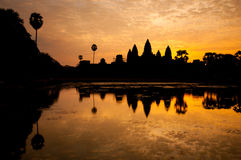 Beautiful sunrise, Silhouette of Angkor Wat at sunrise, the best time in the morning at Siem Reap, Cambodia Stock Image