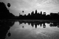 Beautiful sunrise, Silhouette of Angkor Wat at sunrise, the best time in the morning at Siem Reap, Cambodia Royalty Free Stock Images