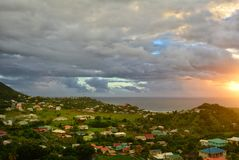 Beautiful sunrise sky above the Atlantic ocean. Saint Vincent and the Grenadines. Morning Royalty Free Stock Photography