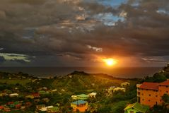 Beautiful sunrise sky above the Atlantic ocean. Saint Vincent and the Grenadines