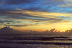 Beautiful sunrise sky in the morning with colorful cloud on sea Stock Photography