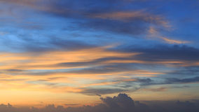 Beautiful sunrise sky in the morning with colorful cloud on sea Stock Image