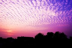 Beautiful Sunrise Sky in Purple and Red Filter Background. Twilight Light Abstract Landscape for Evening Outdoor. Dramatic Violet royalty free stock photos
