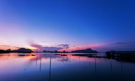 Beautiful sunrise or sunset over tropical sea scenery nature in thailand royalty free stock image