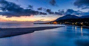 Beautiful sunrise in Taiwan. Sunrise scenery of coast in Fulong Beach ,Taiwan royalty free stock photos