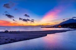 Beautiful sunrise in Taiwan. Sunrise scenery of coast in Fulong Beach ,Taiwan royalty free stock image