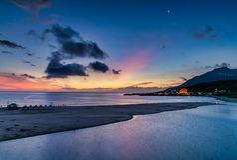 Beautiful sunrise in Taiwan. Sunrise scenery of coast in Fulong Beach ,Taiwan stock images