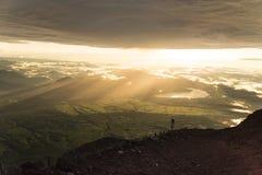 Beautiful sunrise on top of the Mount Fuji, Japan Royalty Free Stock Image