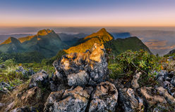 Beautiful sunrise on top mountain Royalty Free Stock Photos