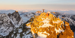 Beautiful sunrise on the top of Rysy in Tatras Royalty Free Stock Images
