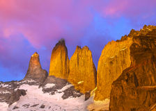 Beautiful sunrise in Torres del Paine national park, Patagonia. Stock Image