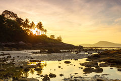 Beautiful sunrise at the tropical beach Royalty Free Stock Photo