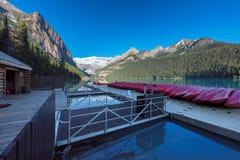 Canoes on Lake Louise, Banff national park, Alberta, Canada. Stock Images