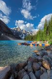 Canoes on Moraine lake, Banff national park, Alberta, Canada. Royalty Free Stock Images