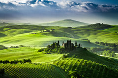 Beautiful sunrise in the valley of San Quirico d'Orcia Royalty Free Stock Images