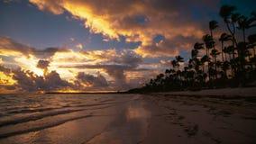 Beautiful sunrise video on tropical island beach Bavaro. Punta Cana resort, Dominican Republic.  stock video footage