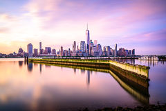 Beautiful sunrise view of Downtown Manhattan Royalty Free Stock Photos