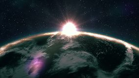 Beautiful sunrise view from space on Planet Earth. World close up rotating in Universe of blue sky stars. High detailed 4k 3D Rend. Er animation. Elements of stock video footage