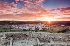 Beautiful sunrise in the village of Aljezur. stock images