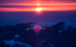 Colorful sunrise in the mountains stock photography