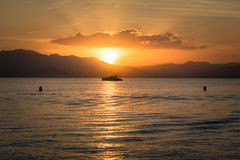 Beautiful sunsest over Mediteranean sea Royalty Free Stock Images