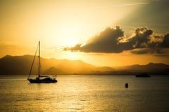 Beautiful sunsest over Mediteranean sea Royalty Free Stock Photos