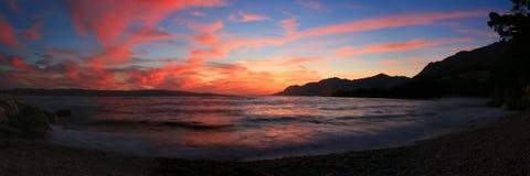Beautiful Sunset. Beach in Brela, Croatia Stock Images